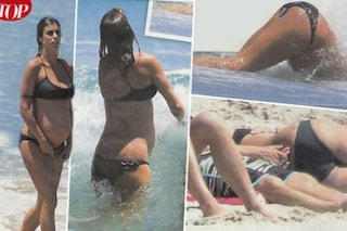 Elisabetta Canalis incinta al nono mese, tuffi nell'oceano con pancione in vista