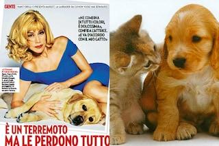 """Nancy Brilli presenta i suoi cuccioli: """"Ho un cane e un gatto e non litigano"""""""