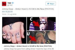 Johnny Depp copre il tatuaggio dedicato ad Amber Heard, al suo posto la parola 'feccia'