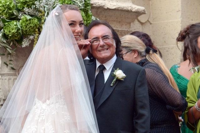Al Bano con la figlia Cristel nel giorno del suo matrimonio con Davor Luksic