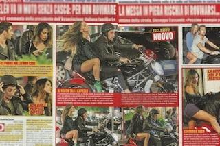 Belén centaura spericolata, in moto con Iannone in microgonna e senza casco