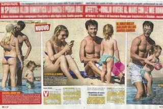 Kledi Kadiu in spiaggia a Ibiza con Charlotte Lazzari, la piccola Léa ruba loro la scena