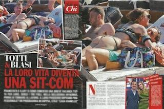 Ilary Blasi marca stretto Francesco Totti al mare, lui cede alle lusinghe e si lascia abbracciare