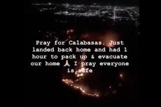 California in fiamme, Kim Kardashian fugge in aereo
