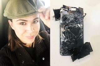 """Valeria Graci posta la foto di un cellulare distrutto: """"Ho perso tutto ma sono viva, denunciate!"""""""
