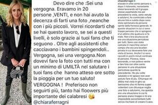 """Chiara Ferragni a Reggio Calabria, è polemica: """"Neanche una foto"""", lei: """"Mi hanno spintonata"""""""