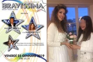 Perla Maria conduttrice di un talent show, Valerio Merola scrittura la baby star figlia della Monsè