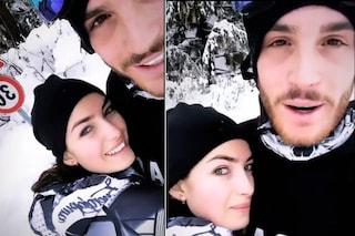 Nilufar Addati e Giordano Mazzocchi felici nella neve, la crisi sembra archiviata