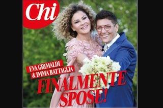 La prima foto del matrimonio di Eva Grimaldi e Imma Battaglia: svelato l'abito da sposa dell'attrice