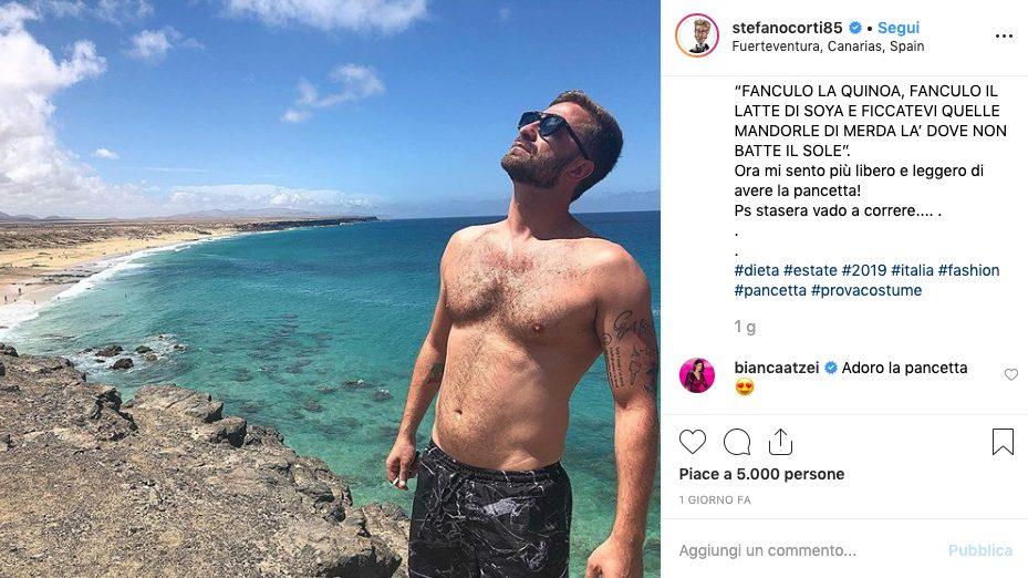 Il commento di Bianca Atzei alla pancetta di Corti
