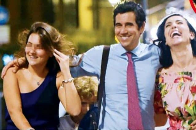 Caterina Balivo con Guido Maria Brera e Costanza, la primogenita del marito. Foto di Oggi