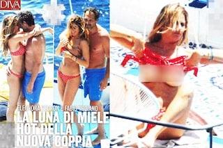 Il topless di Eleonora Pedron, con lei in barca c'è il compagno Fabio Troiano