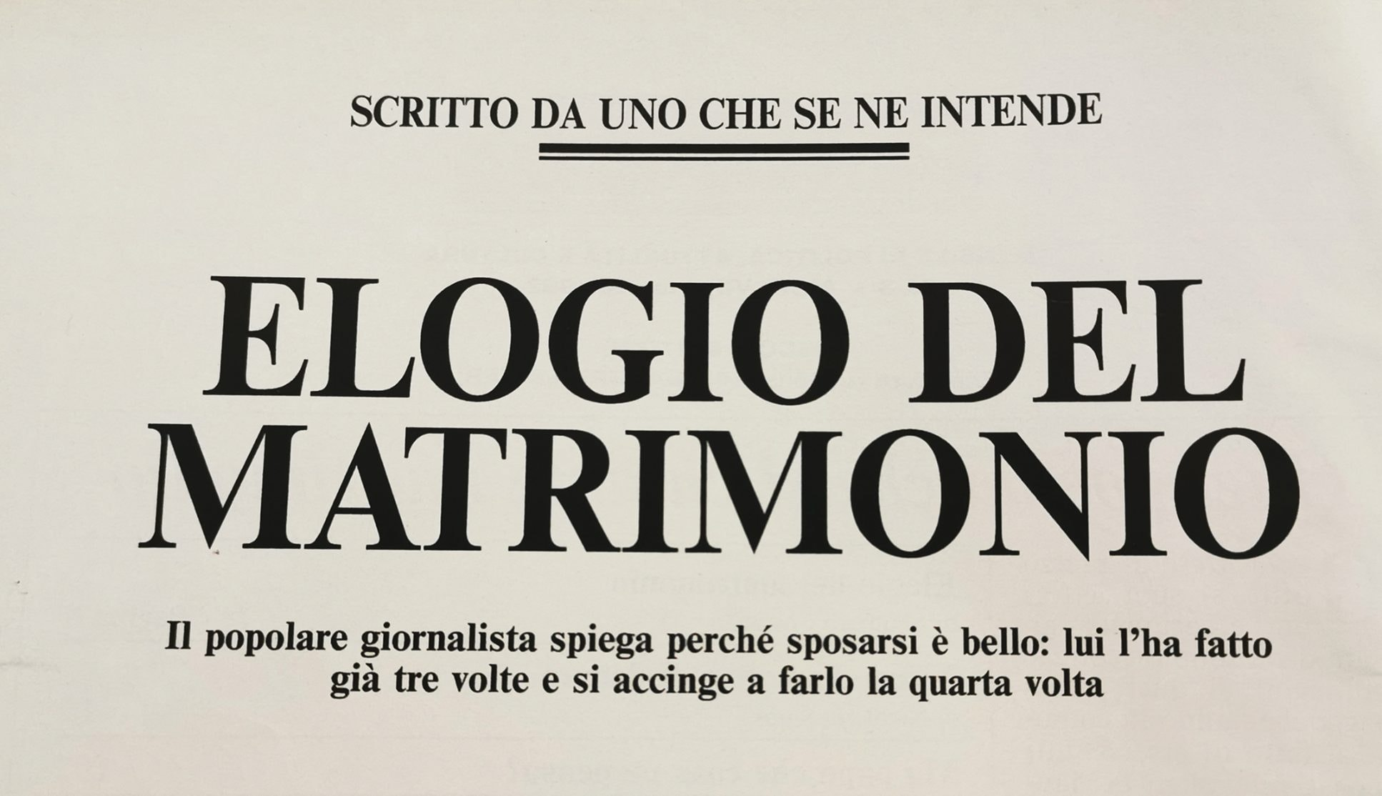 The editorial signed by Maurizio Costanzo for Gente Mese in March 1992