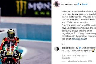 """Giulia De Lellis rassicura Andrea Iannone positivo all'antidoping: """"Chi ti conosce sa"""""""