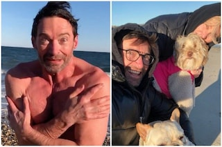 Hugh Jackman si tuffa nelle acque di New York per la moglie Debora-Lee Furness