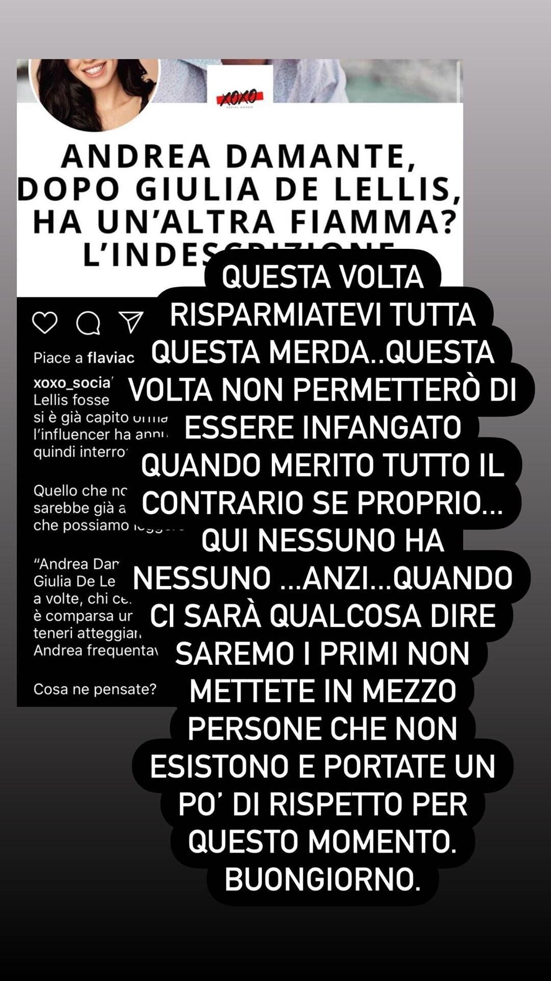 Andrea Damante smentisce il flirt con Martina