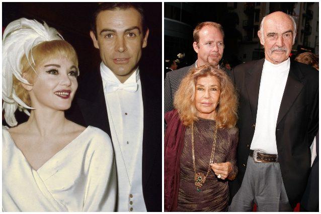 A sinisra, Connery con la prima moglie Diane Cilento; a destra, con la seconda consorte Micheline Roquebrune e il figlio Jason, avuto dalla Cilento