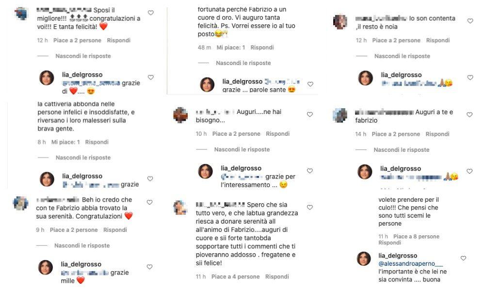 Collage di commenti instagram ai quali Lia Del Grosso ha risposto