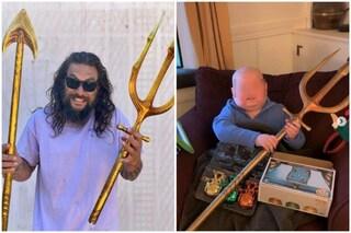 Jason Momoa regala il tridente di Aquaman ad un piccolo fan malato di cancro