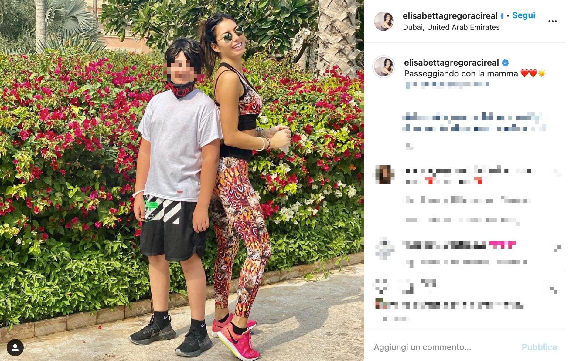 Elisabetta Gregoraci con il figlio Nathan a Dubai