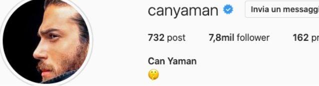 Can Yaman modifica la bio del suo profilo Instagram