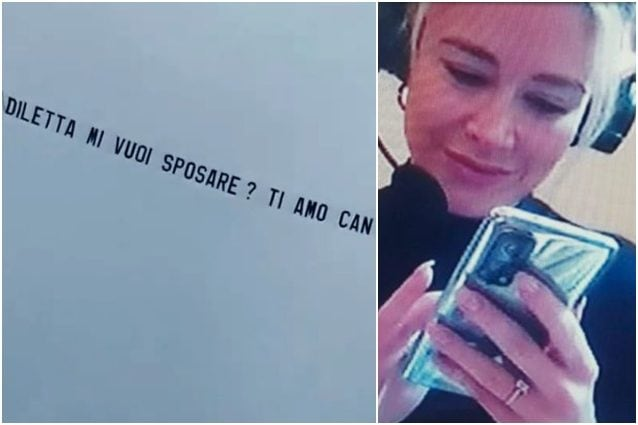 In foto: lo striscione aereo volato a Roma e l'anello al dito di Diletta Leotta (fonte: Twitter)
