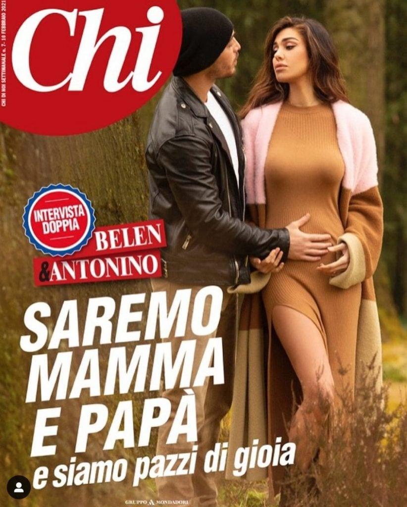 La copertina di Chi con l'annuncio della gravidanza
