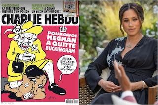 Meghan Markle soffocata dalla Regina nella vignetta di Charlie Hebdo