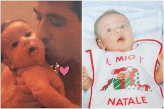Fedez da bambino tra le braccia del padre Franco Lucia nella foto di 30 anni fa