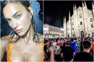 Anche Irina Shayk, ex di Cristiano Ronaldo, festeggia l'Italia: il video coi tifosi a Milano