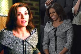 """Michelle Obama vestita come la """"Good Wife"""" della tv al discorso di Barack"""