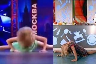 Come Lisa Fusco, ballerina russa fa la spaccata e si rompe il naso in tv
