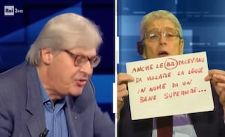 """""""Fai tacere questa rana"""", lite furiosa tra Vittorio Sgarbi e Mario Giordano a Cartabianca"""