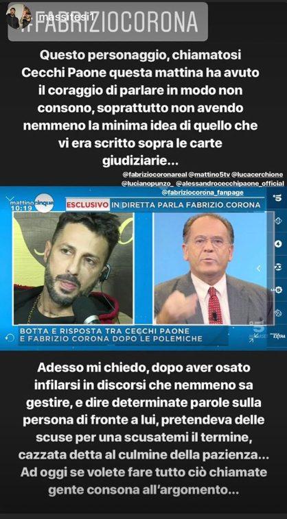 La story di Fabrizio Corona contro Cecchi Paone