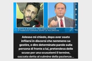 """Fabrizio Corona contro Cecchi Paone: """"Pretendeva scuse per una ca**ata al culmine della pazienza"""""""