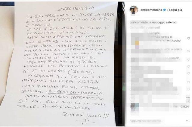 Lettera di minacce a Mentana con insulti e svastica