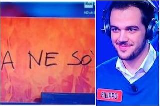 """""""A ne sò"""": Filippo Senzani Pezzi, campione de L'Eredità, spiazza e diverte Flavio Insinna"""