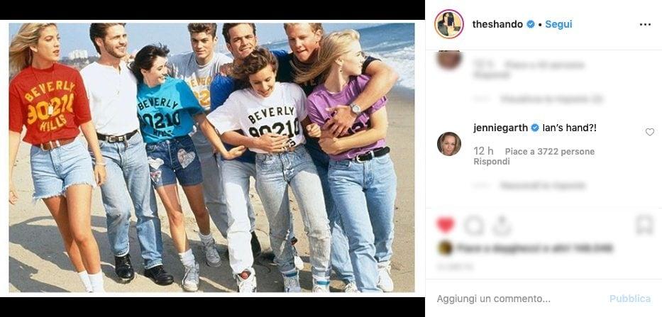 Il commento di Gennie Garth sotto la foto.