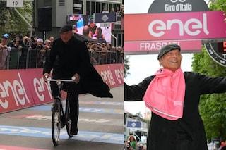 Don Matteo al Giro d'Italia 2019, Terence Hill taglia il traguardo nella tappa Orbetello - Frascati
