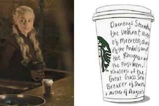 """Tazza di Starbucks ne Il Trono di Spade, Hbo chiarisce: """"Un errore, Daenerys voleva una tisana"""""""