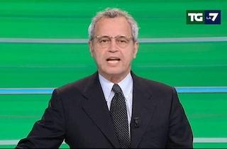 """Incendio negli studi di La7, Enrico Mentana: """"Chiudo il Tg in un altro studio, fiamme permettendo"""""""