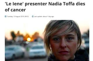 La morte di Nadia Toffa raccontata dai giornali esteri, la sua storia ha fatto il giro del mondo