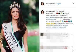 """Anna Valle assente a Miss Italia 2019, il messaggio per la futura reginetta: """"Buona fortuna"""""""