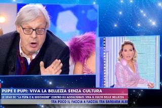"""Vittorio Sgarbi: """"Berlusconi mi ha raccomandato anche te"""", Barbara D'Urso lo caccia dallo studio"""