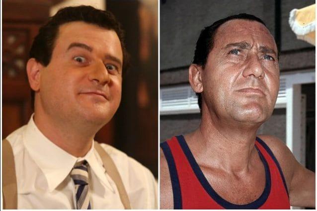 """A sinistra Edoardo Pesce nel film """"Permette? Alberto Sordi"""". A destra Sordi in una foto di scena."""