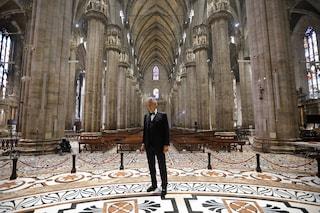 Il suggestivo concerto di Andrea Bocelli nel Duomo di Milano completamente vuoto