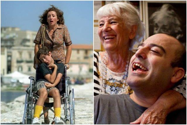 A sinistra una scena del film 'Il figlio della luna', a destra Lucia e Fulvio Frisone