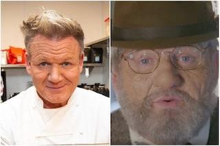 Gordon Ramsay truccato e irriconoscibile, la trasformazione con barba e naso finto dello chef