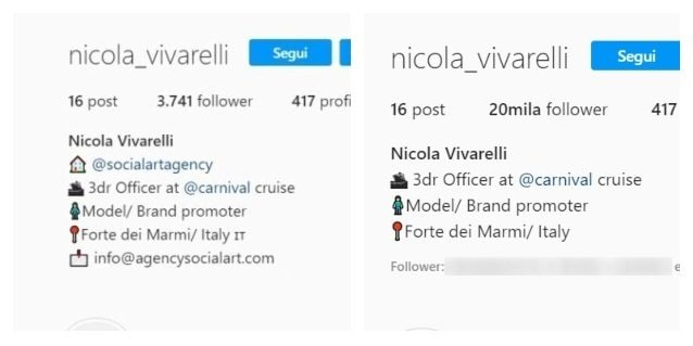 Il profilo Instagram di Nicola prima e dopo la modifica