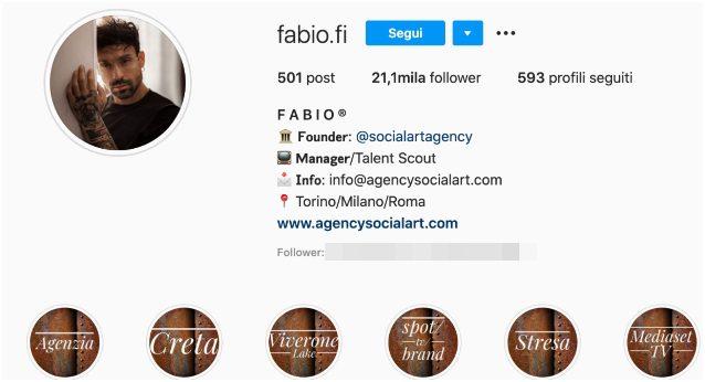 La bio del profilo Instagram di Fabio Filiziano